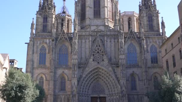 BARCELONA, SPAIN - FEBRUARY 19, 2019: Facade of Gothic cathedral in historic city