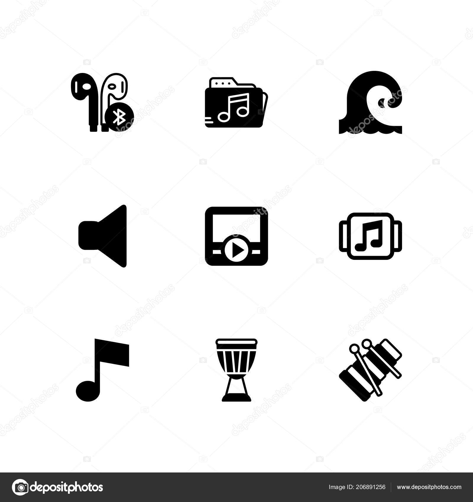 Music Icon Set Earphones Movie Player Music Note Vector Icon