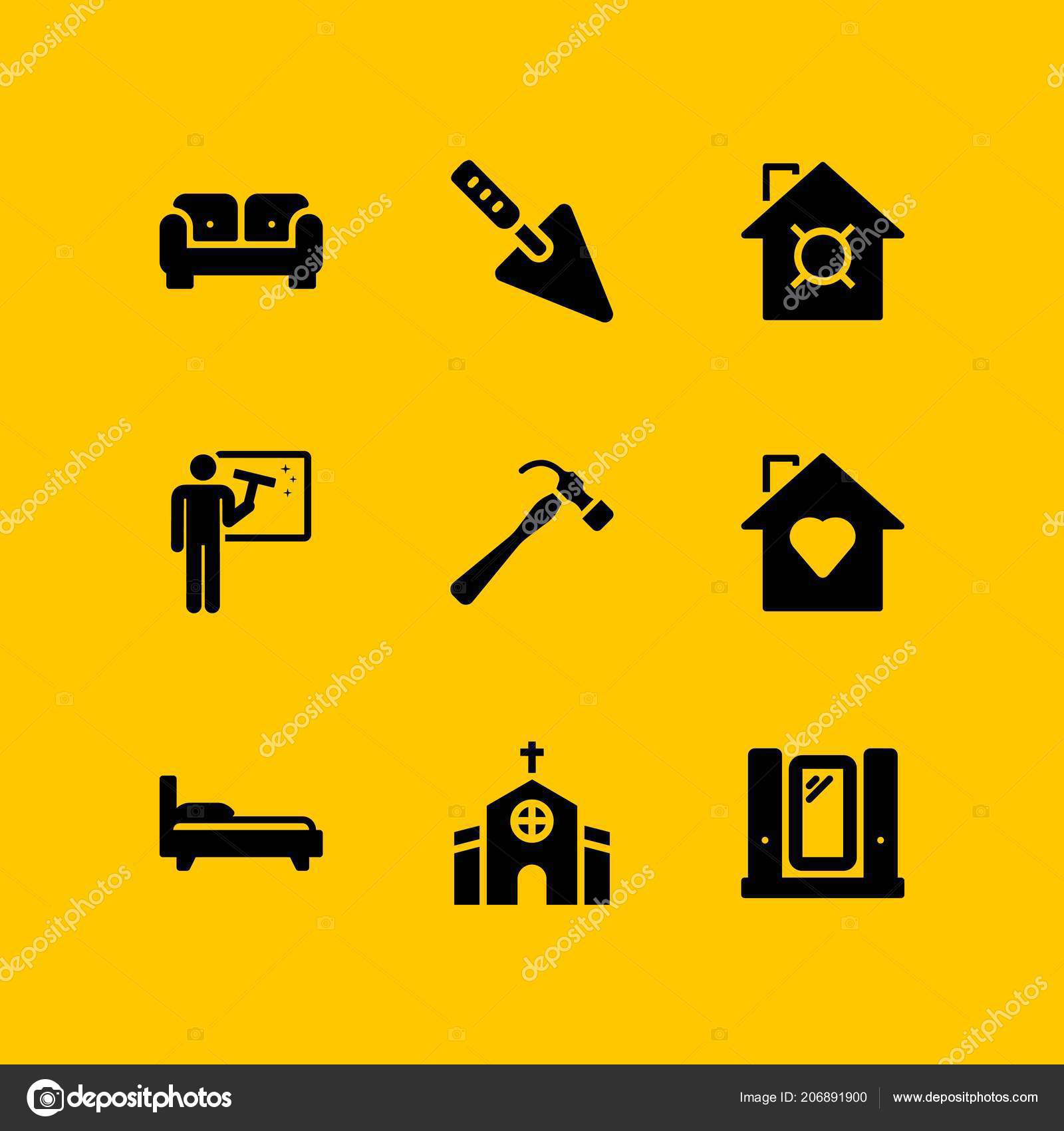 House Icon Set Sofa Church Cleaning Vector Icons Web Graphic Stock