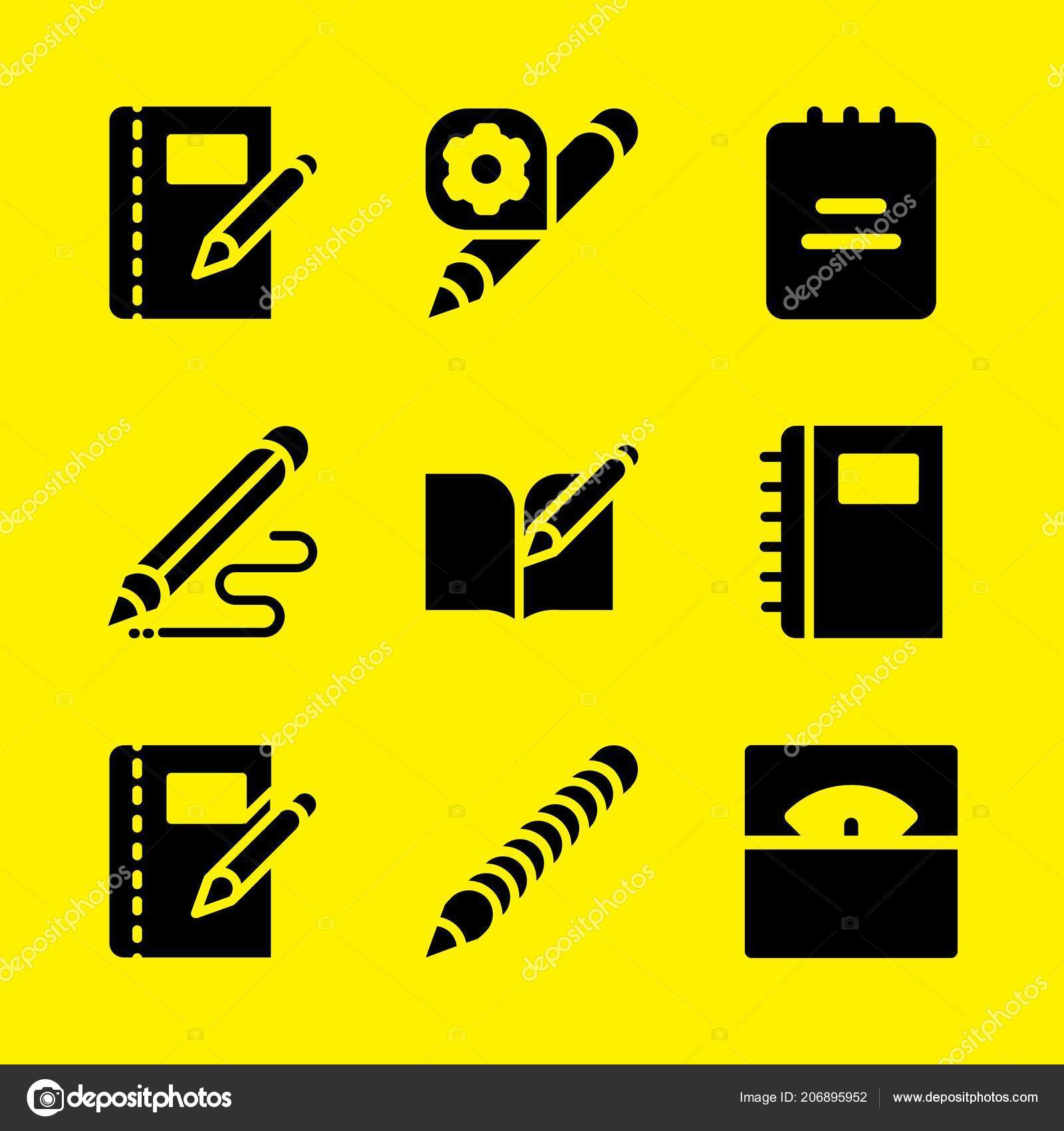 school icon set notebook note pad pencil vector icons graphic