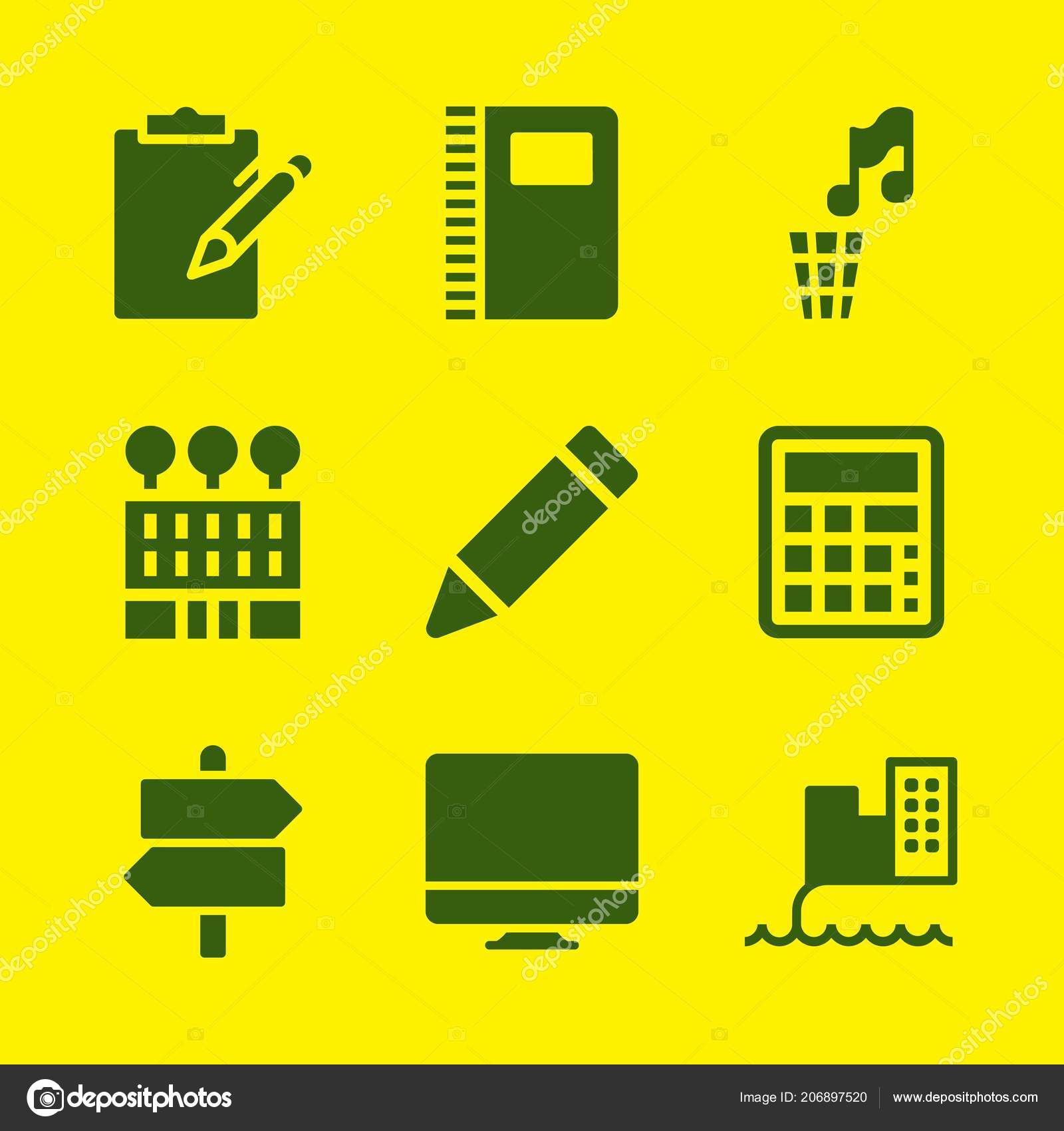 office icon set notebook imac post vector icons graphic design