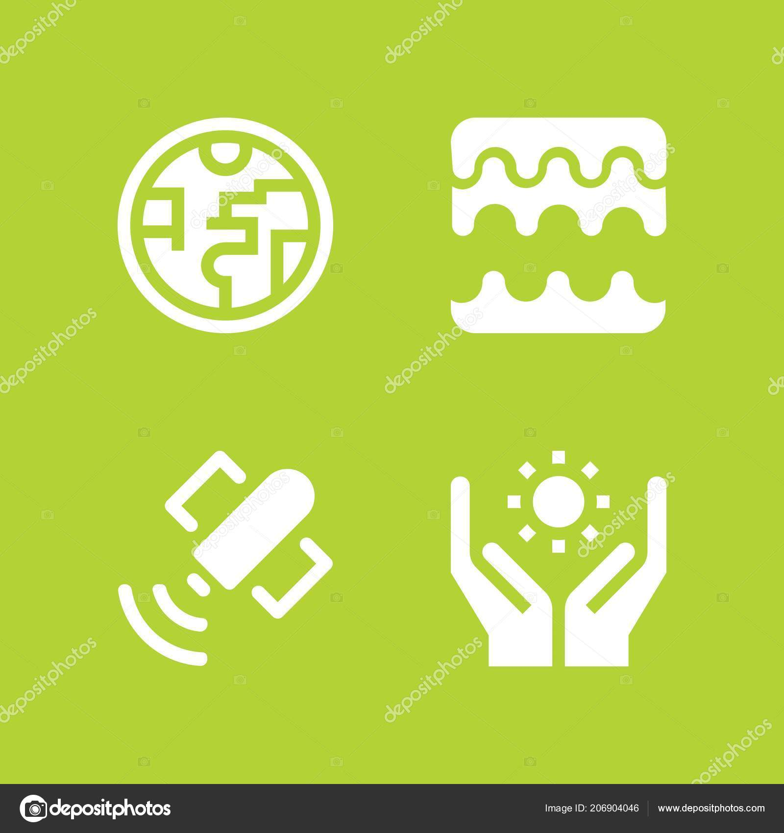 Science Icon Set Sound Waves Ozone Layer Solar Energy Vector