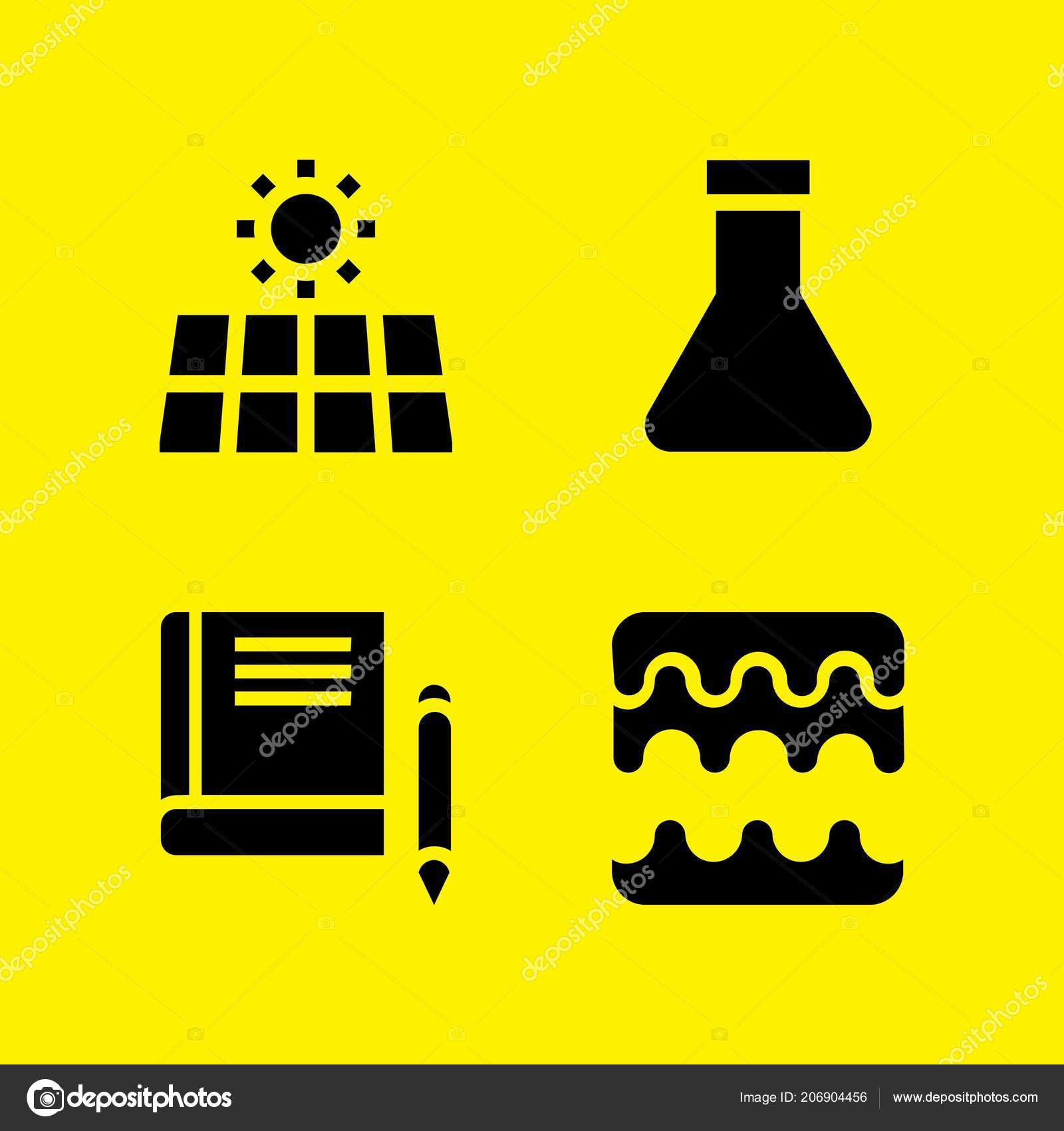 Science Icon Set Book Solar Energy Sound Waves Vector Icons