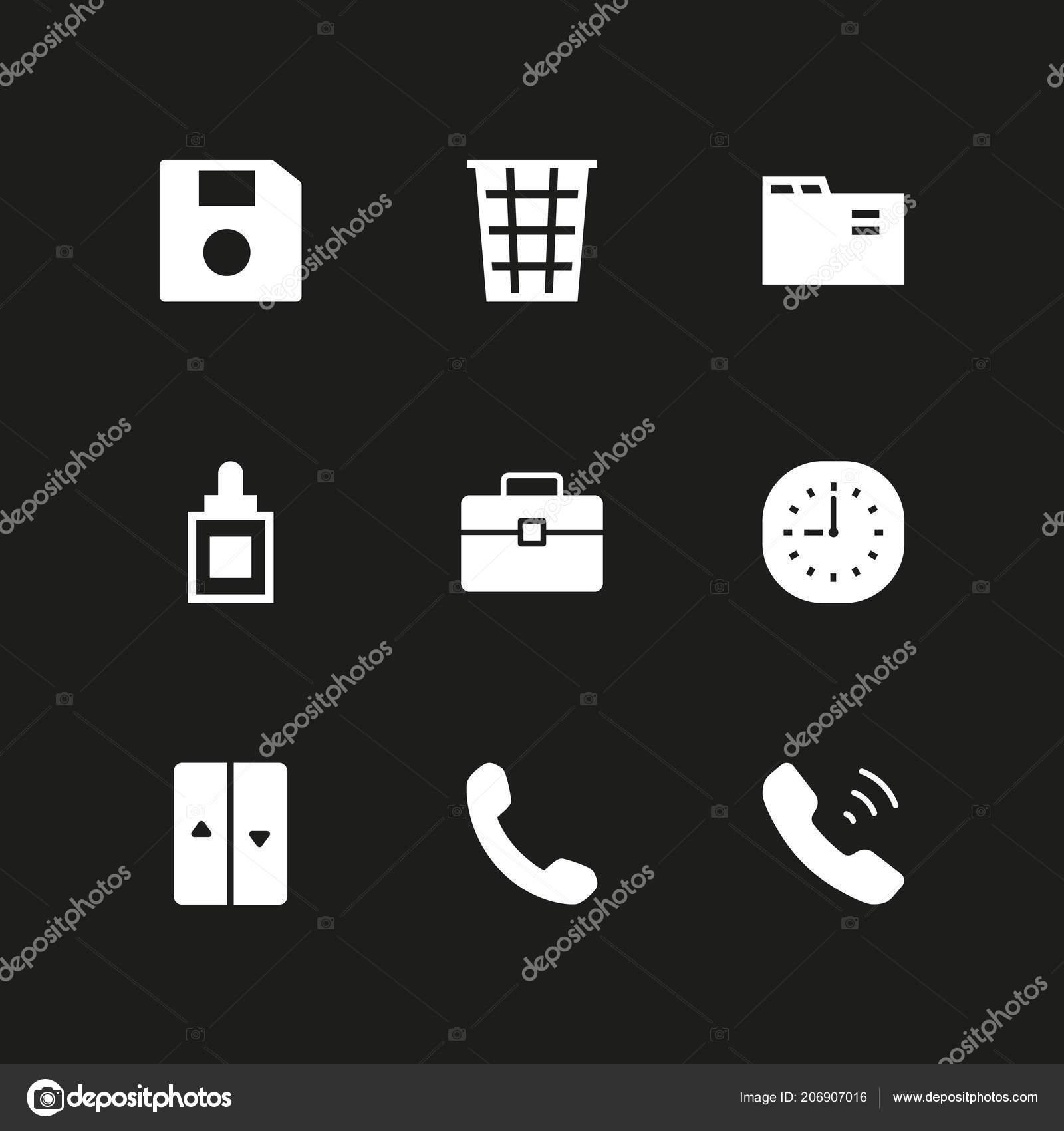 Buro Icon Set Ordner Uhr Und Aufzug Vektor Icon Fur Stockvektor