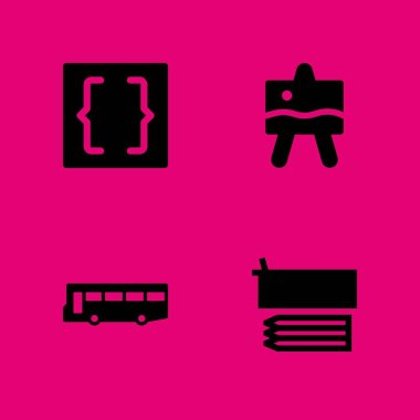 school icon set. bus, easel and pencil case vector icon for graphic design and web