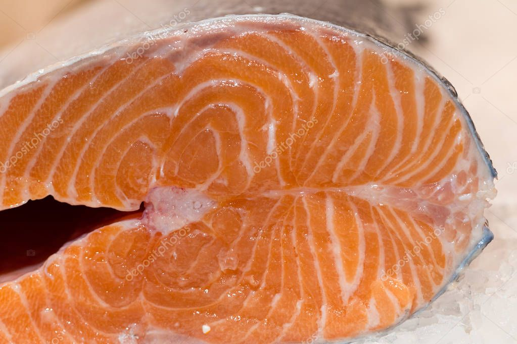 Fresh Atlantic salmon in ice