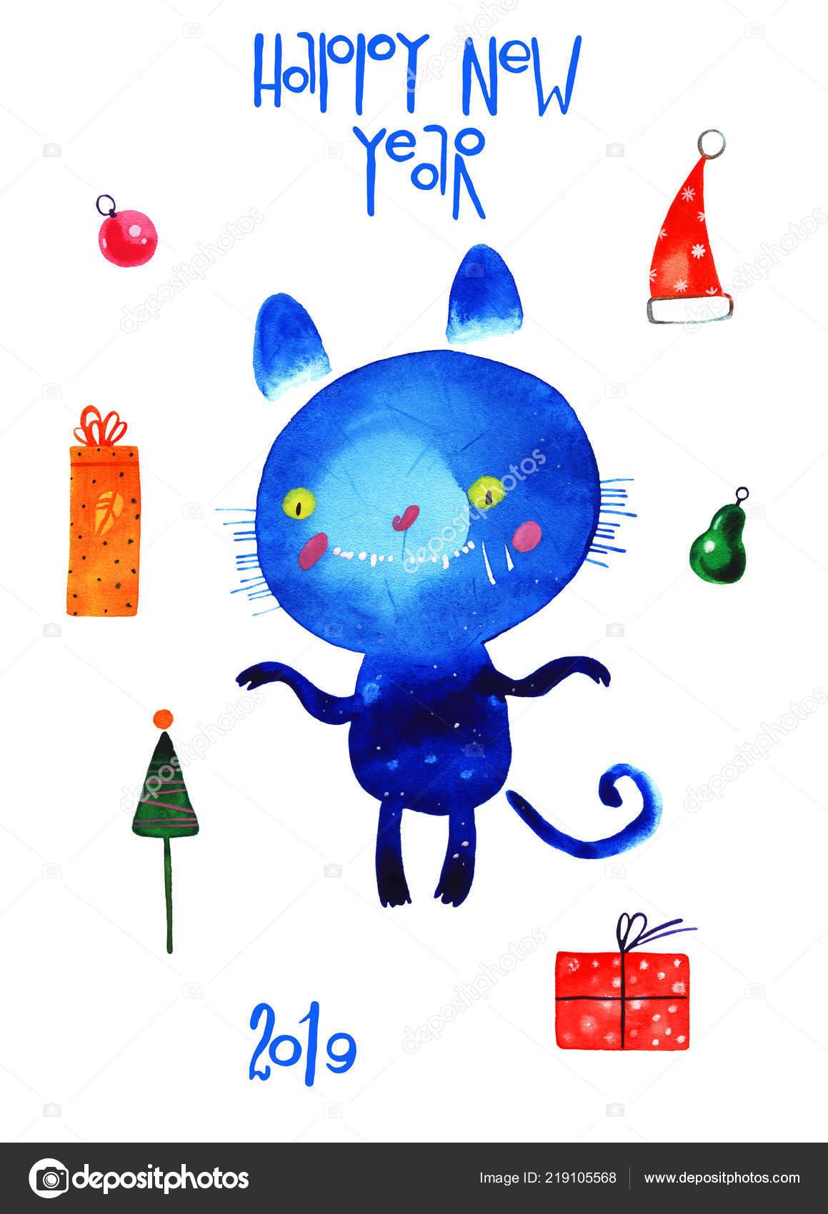 Akvarelu Kocka Novy Rok Set Kreslene Ilustrace Izolovane Bilem