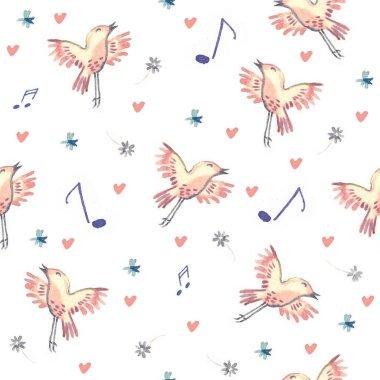 seamless pattern illustration of flying birds