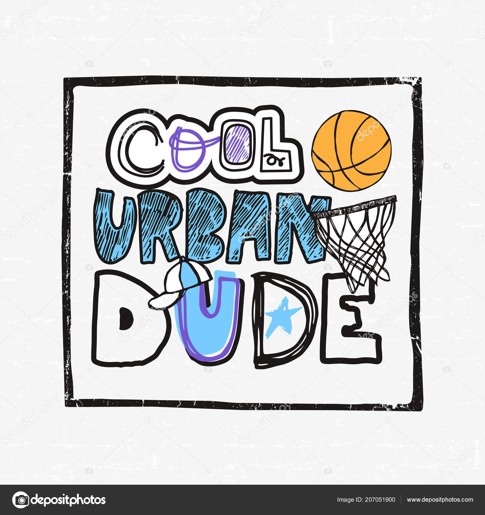 183a67c22 Illustration Basketball Grunge Sketch Cool Urban Dude Text Typography  Slogan — Stock Vector
