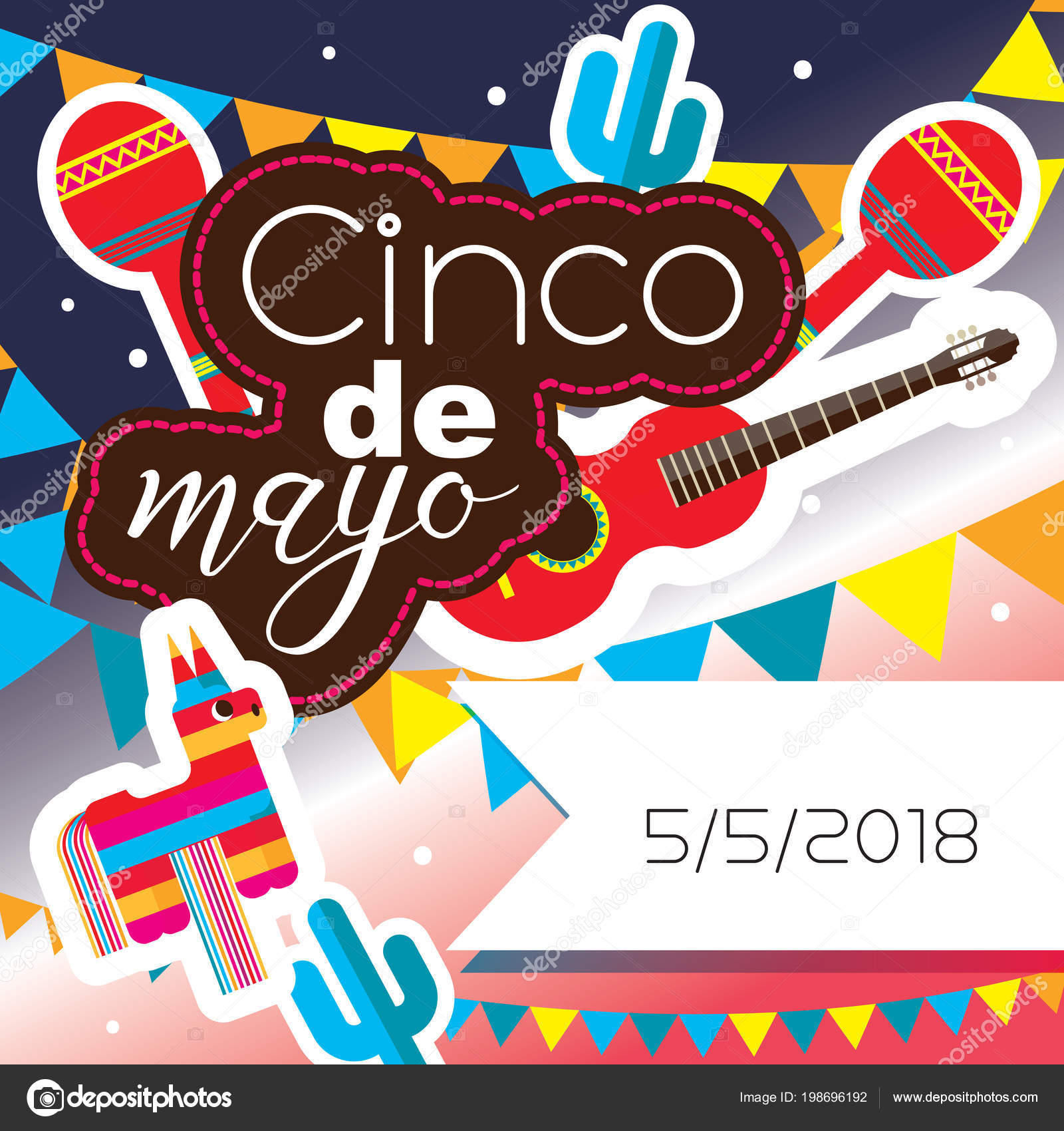 Tarjeta cuadrada para la celebración de la fiesta mexicana del 5 de mayo  cinco de mayo. Colores brillantes 6cc6fbba32e
