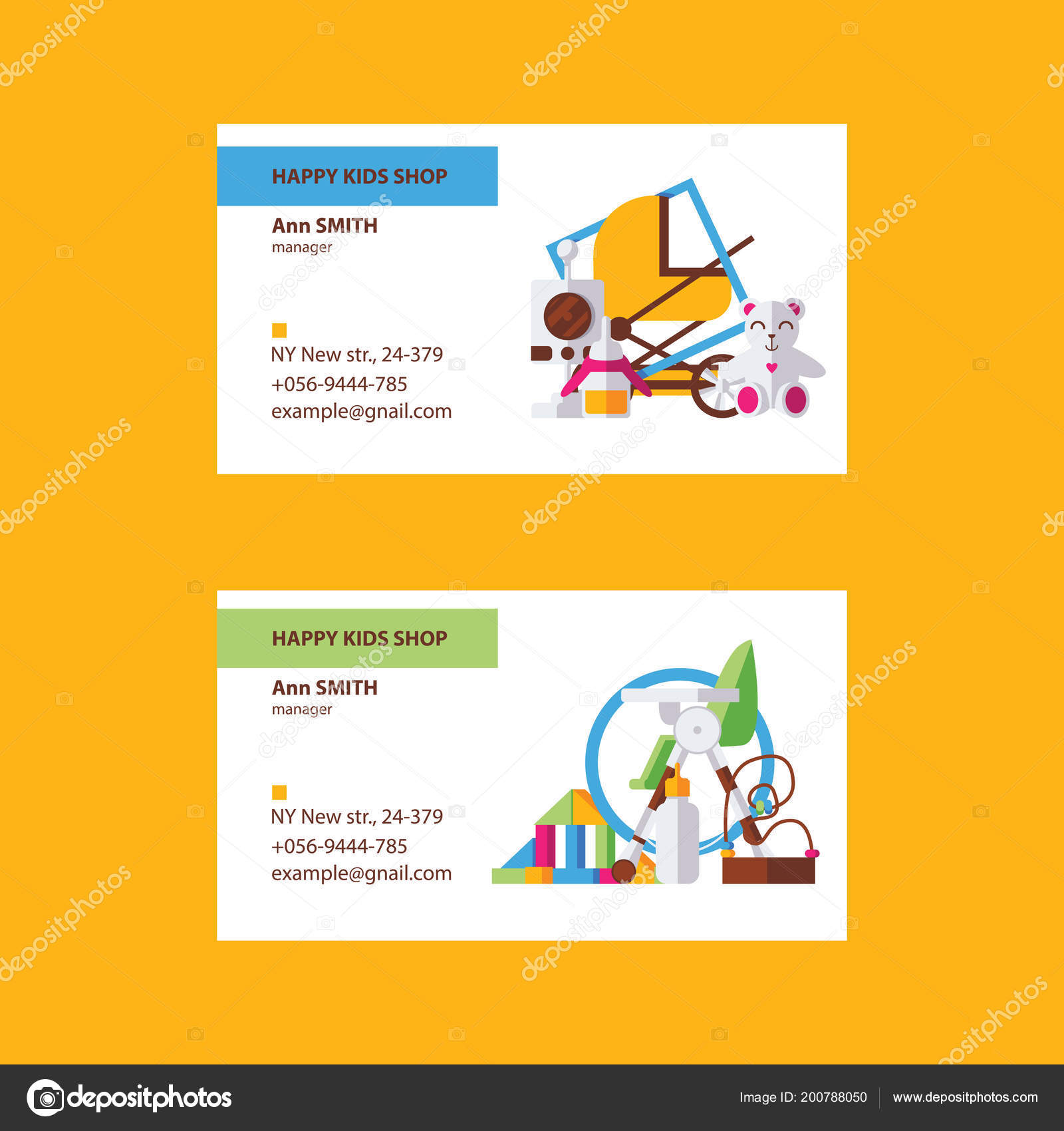 Business cards good kids shop children goods store bright colors business cards good for kids shop or children goods store in bright colors on white background vector collection for newborn baby store colourmoves