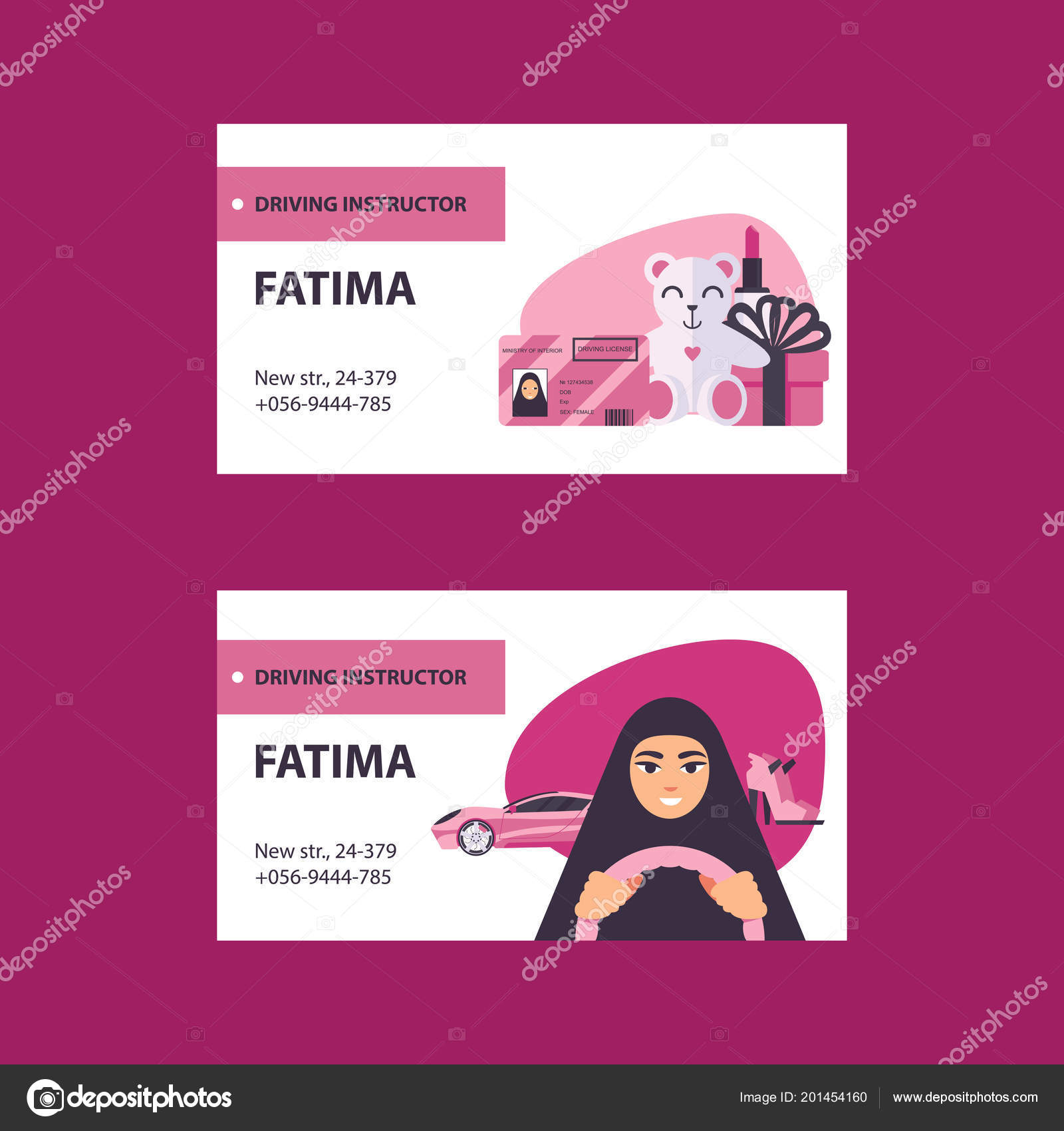 Pink White Business Cards Driving Licence Instructor Arab Women ...