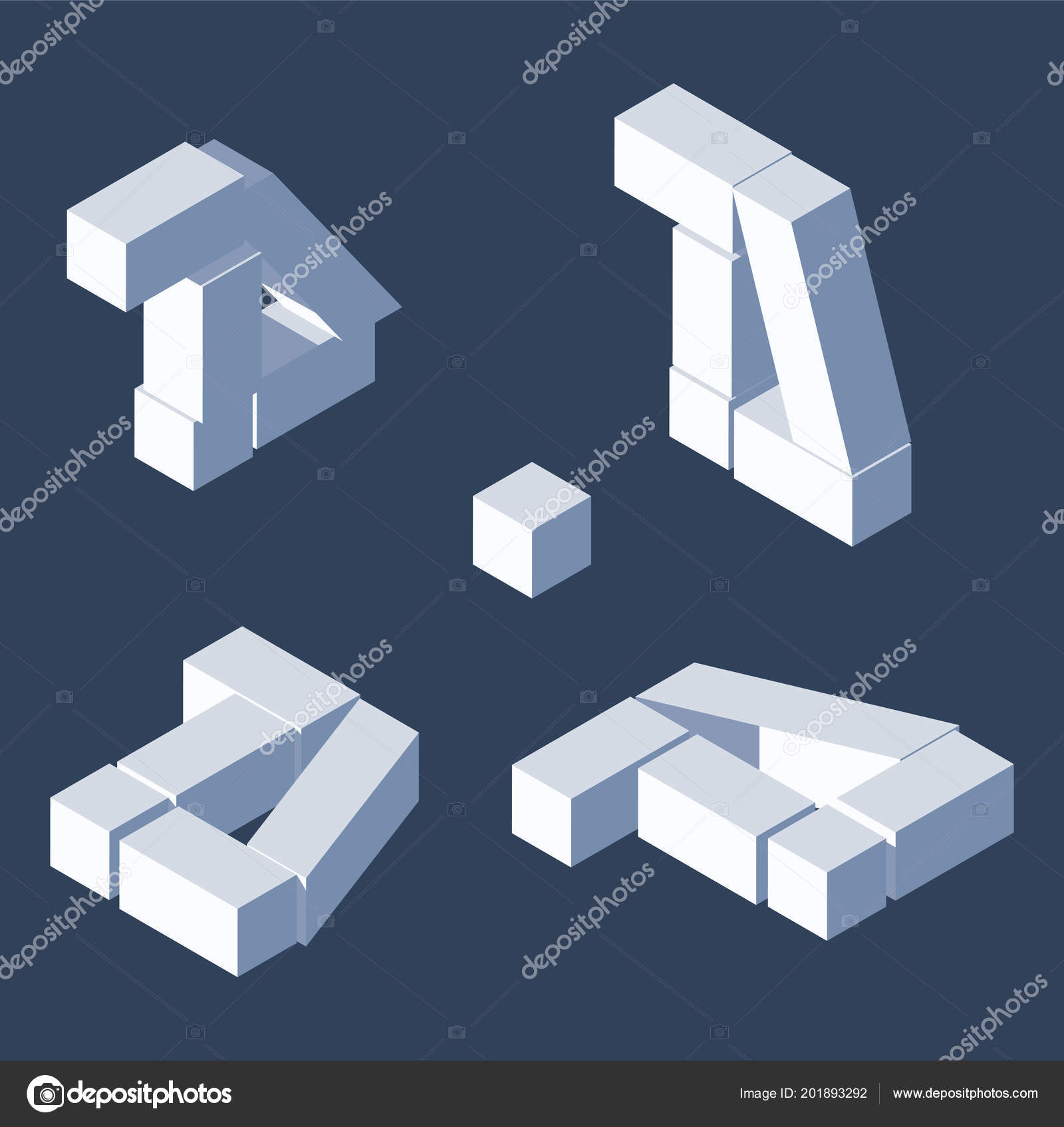 Destroyed Blocks Letters D In Various Foreshortening Isometric