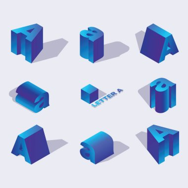 Russian and English Isometric alphabet font, letter A. 3d effect letters, foreshortening with flat shadows.. Stock vector typeface for any typography design. Blue 3d letters