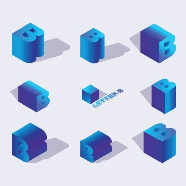 English Isometric alphabet font, letter B or russian letter B. 3d effect letters, various foreshortening with flat shadows. Stock vector typeface for any typography design. Blue 3d letters