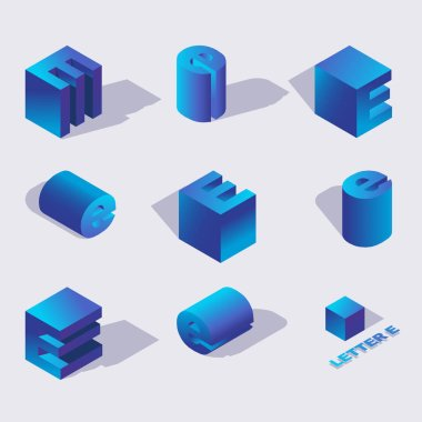 Isometric alphabet font english or russian letter E. 3d effect letters, various foreshortening with flat shadows. Stock vector typeface for any typography design. Blue 3d letters