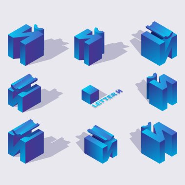 Isometric alphabet font English or russian letter Short I or Yot. 3d effect letters, various foreshortening with flat shadows. Stock vector typeface for any typography design. Blue 3d letters