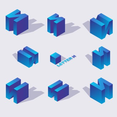 Isometric alphabet font russian letter i. 3d effect letters, various foreshortening with flat shadows. Stock vector typeface for any typography design. Blue 3d letters