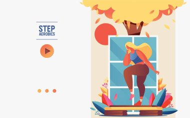 Concept banner or booklet template with young woman doing step aerobics. Greenery, tree, window and platform for healthe lifestyle in vibrant pastel gradients.
