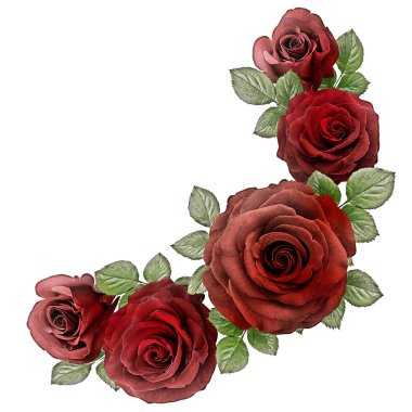 Roses Art Design . Frame made roses, green leaves Valentine's background with roses. Valentines day card concept.