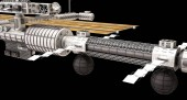3D illustration of Sci Fi Futuristic Space Station on the black background