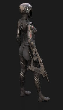 Female Cyborg Suit 3d illustration poses on the background