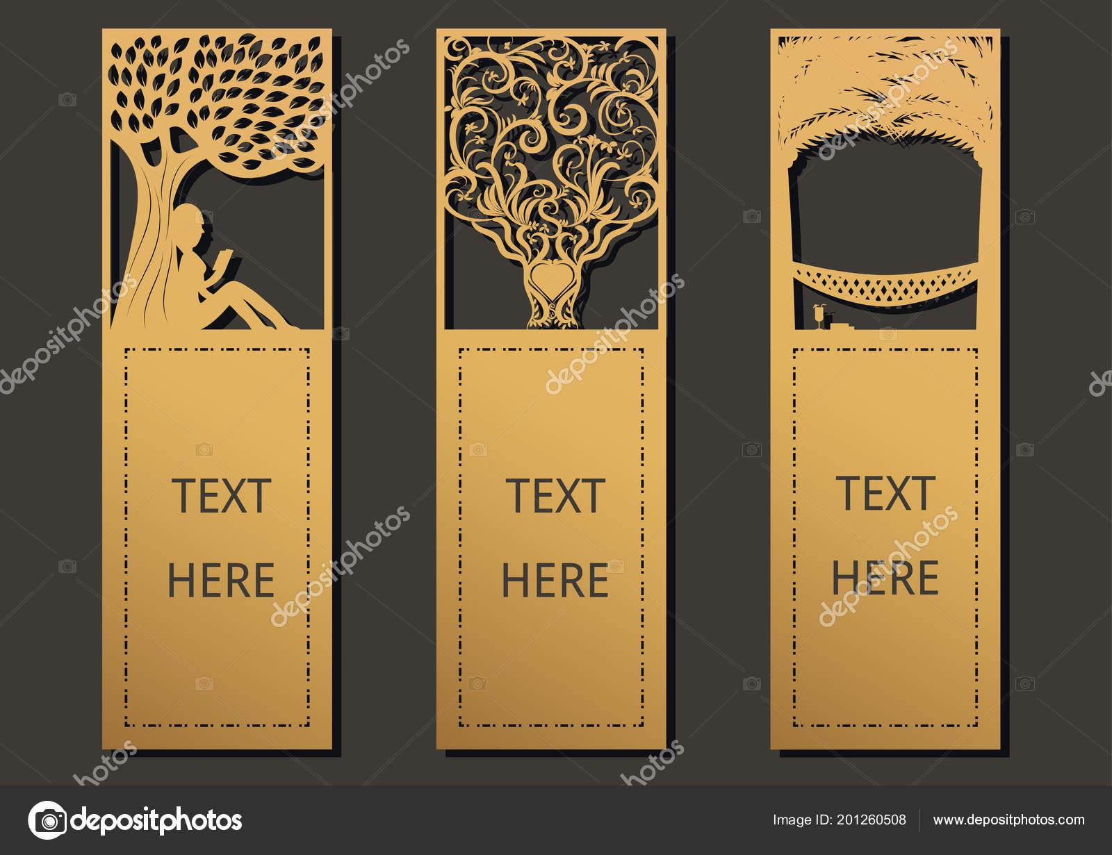 Tintas Laser Cortan Con Conjunto Árboles Tarjetas Ornamentadas Marco ...