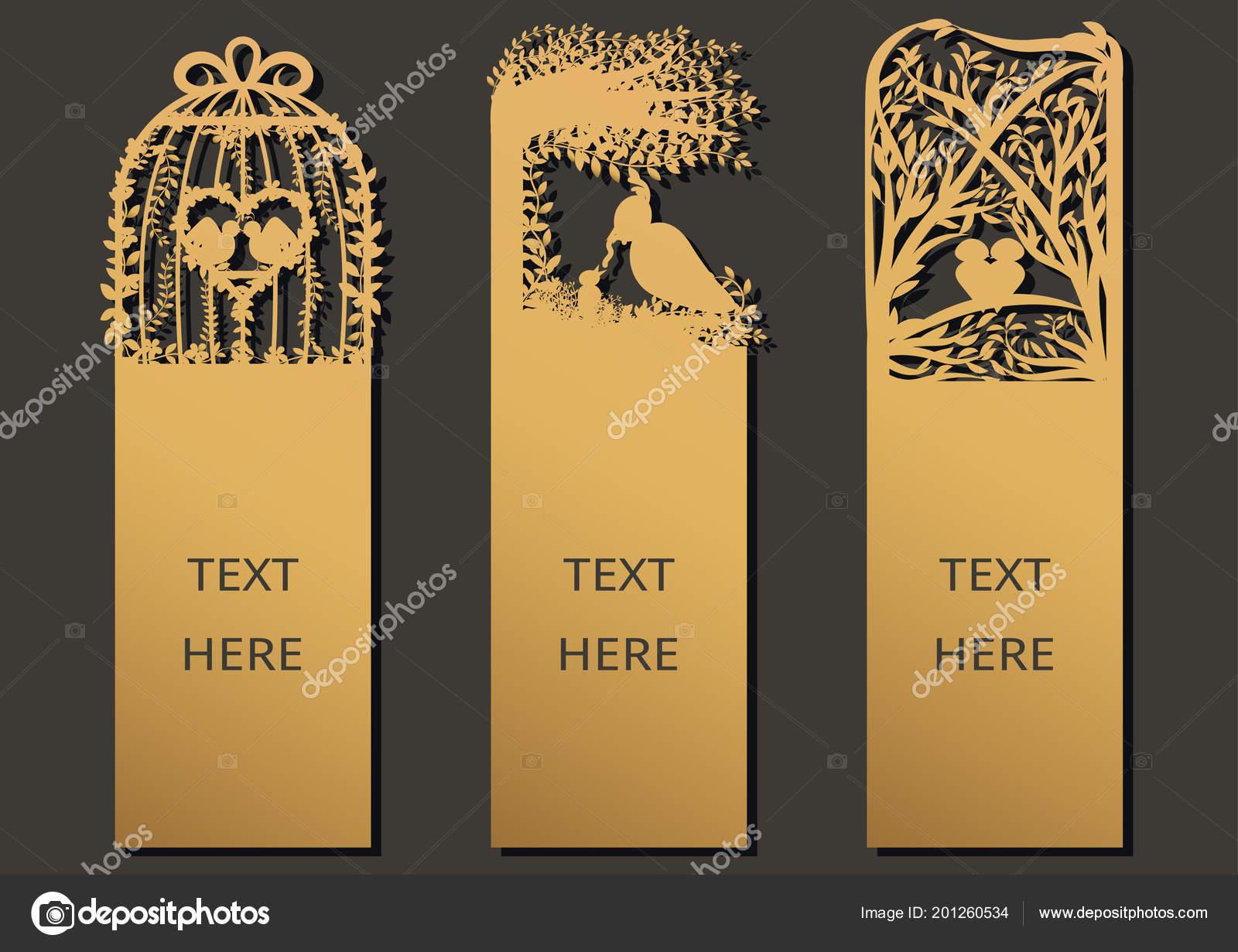 Tintas Laser Cortan Con Conjunto Aves Tarjetas Ornamentadas Marco ...