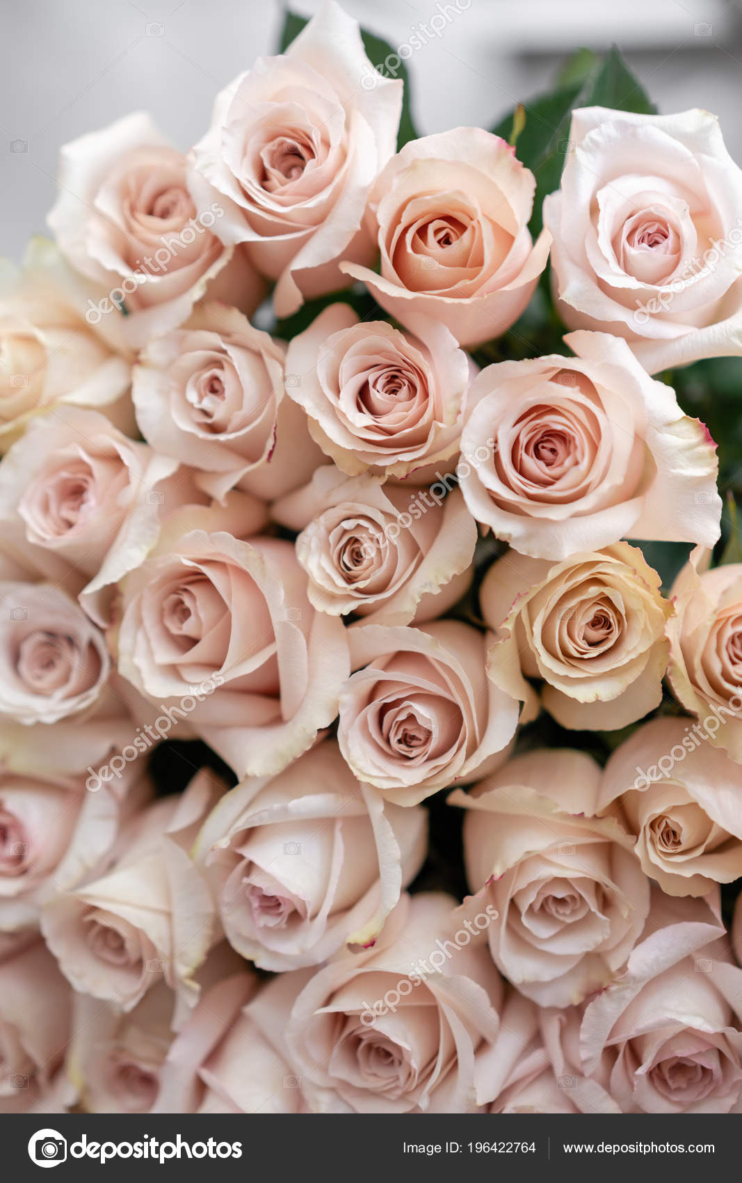 Pastel Pink Roses Bouquet Of Beautiful Flowers On Wooden Table Floristry Concept The Work Of The Florist At A Flower Shop Vertical Photo Stock Photo C Malkovkosta 196422764