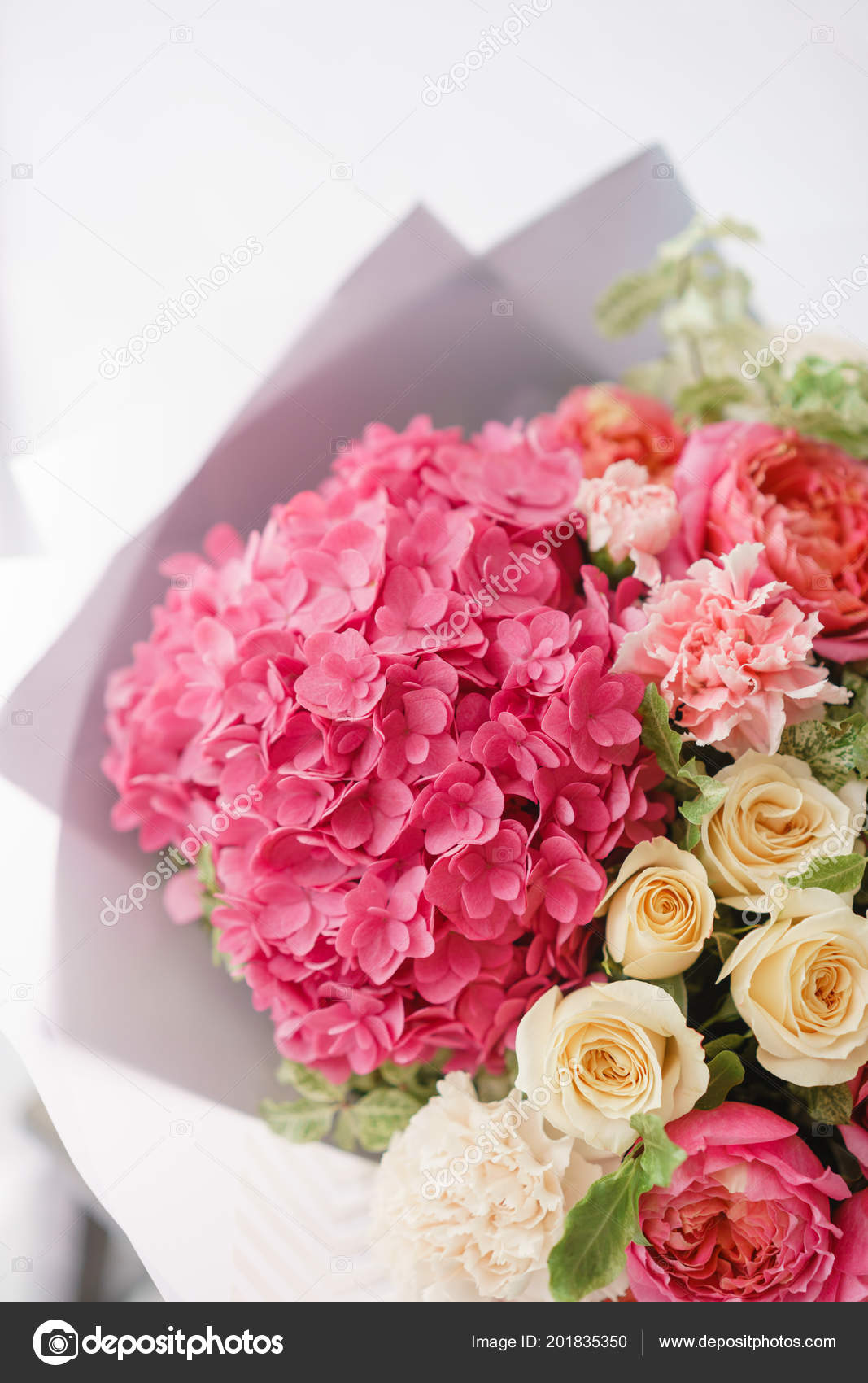 Small Pink Flower Centerpieces Beautiful Spring Bouquet Flower Arrangement With Hydrangea And Peonies Roses Color Light Pink The Concept Of A Flower Shop A Small Family Business Stock Photo C Malkovkosta 201835350