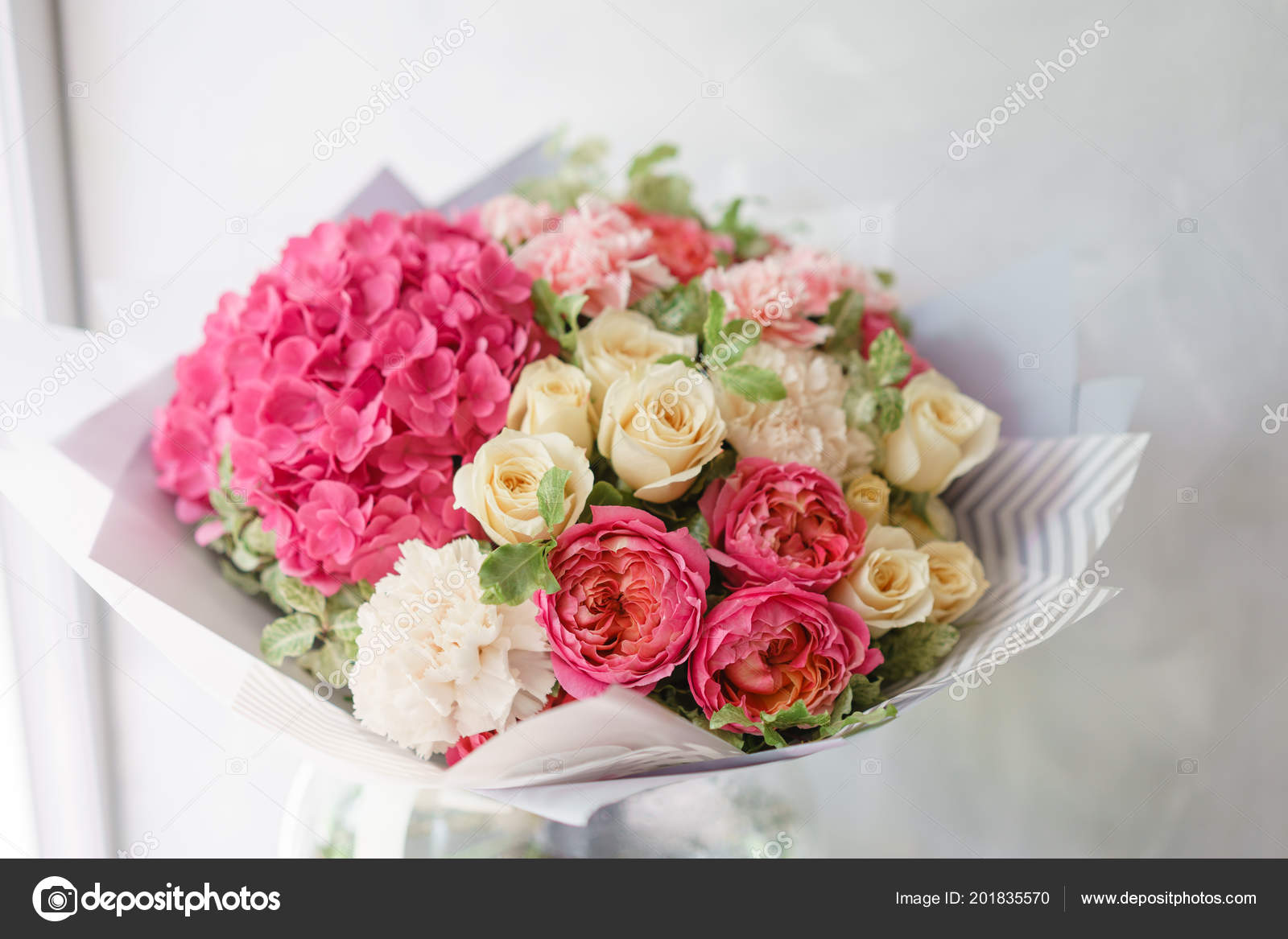 Beautiful spring bouquet flower arrangement with hydrangea and beautiful spring bouquet flower arrangement with hydrangea and peonies roses color light pink izmirmasajfo