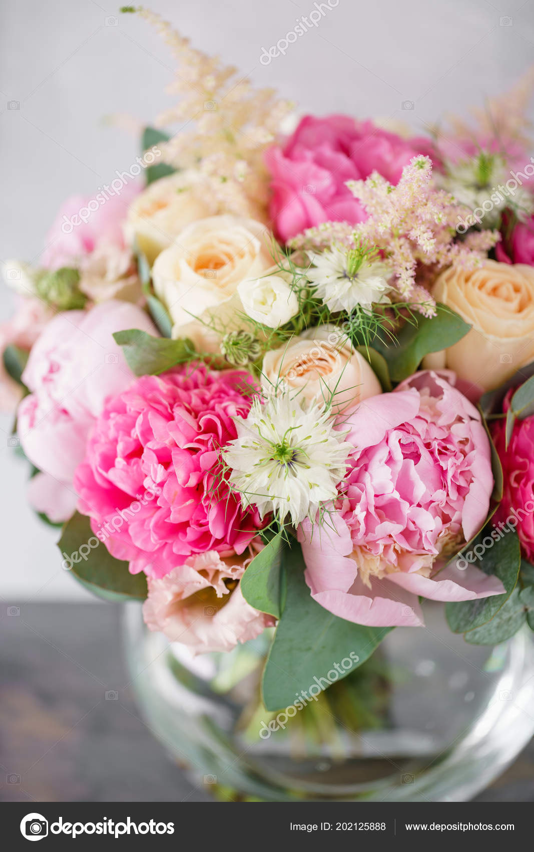 Beautiful summer bouquet flower arrangement with peonies color beautiful spring bouquet flower arrangement with hydrangea and peonies color light pink the concept of a flower shop a small family business izmirmasajfo