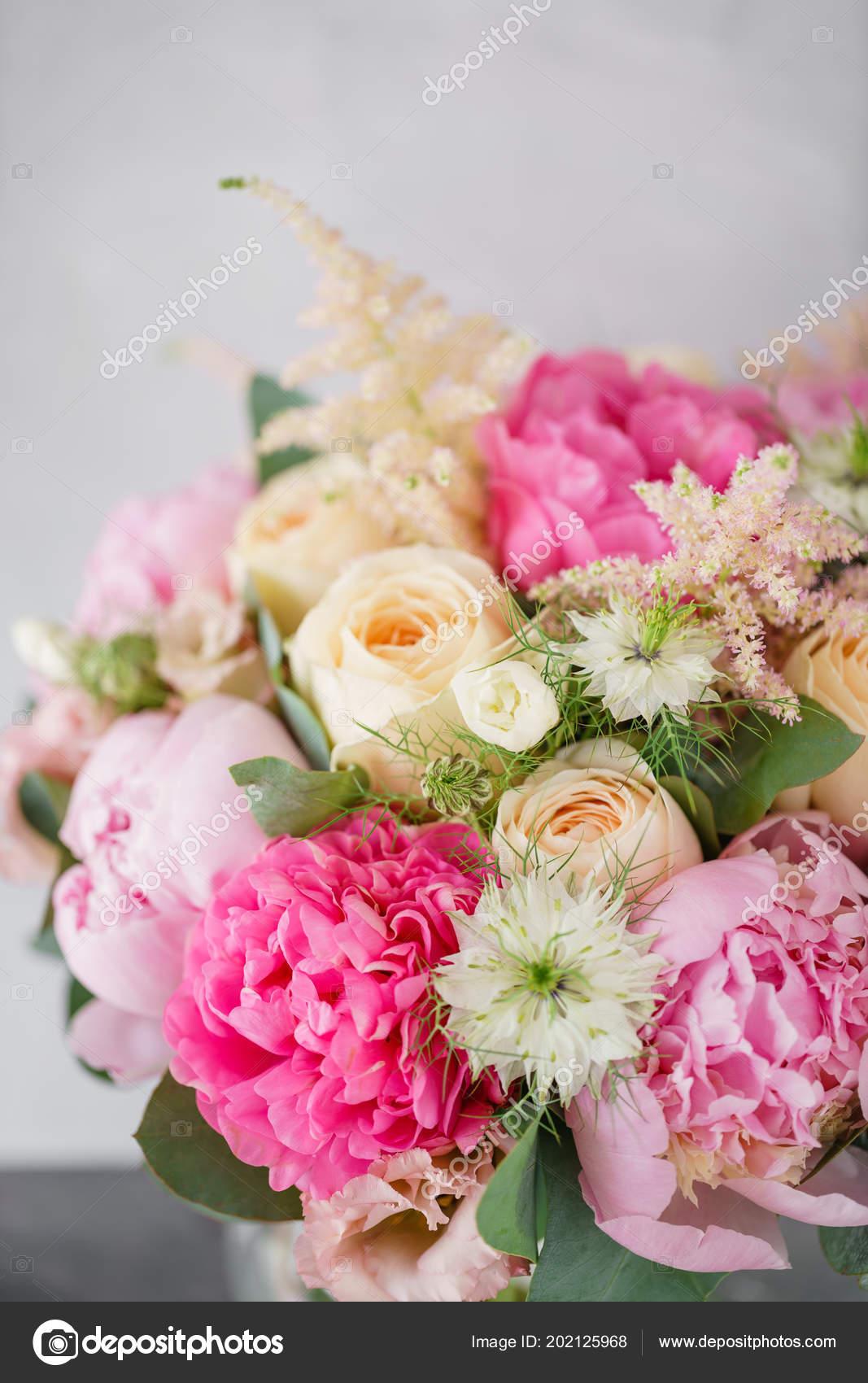 Bouquet De Verano Hermoso Arreglo Floral Con Peonías Color