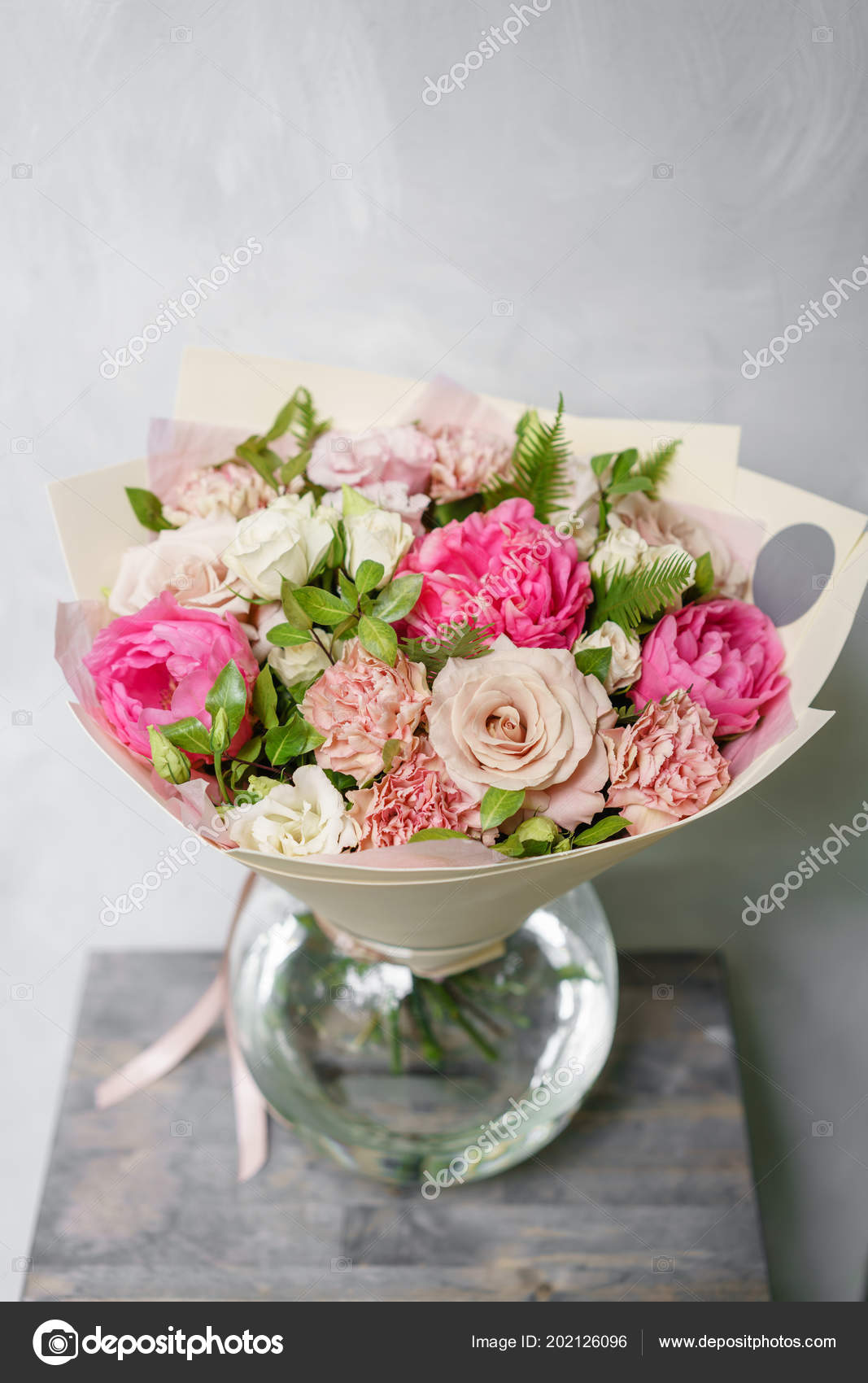Beautiful summer bouquet flower arrangement with peonies color beautiful spring bouquet flower arrangement with hydrangea and peonies color light pink the concept of a flower shop a small family business mightylinksfo