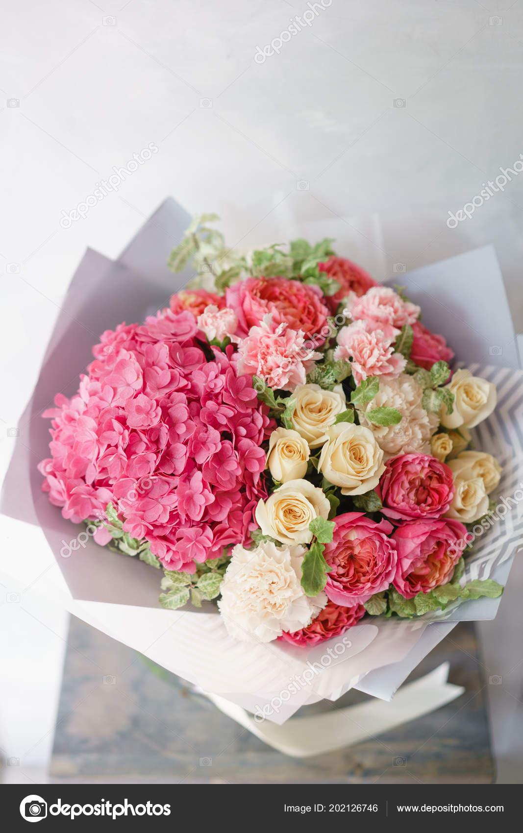 Flower arrangement with hydrangea beautiful summer bouquet color flower arrangement with hydrangea beautiful summer bouquet color light pink the concept of mightylinksfo