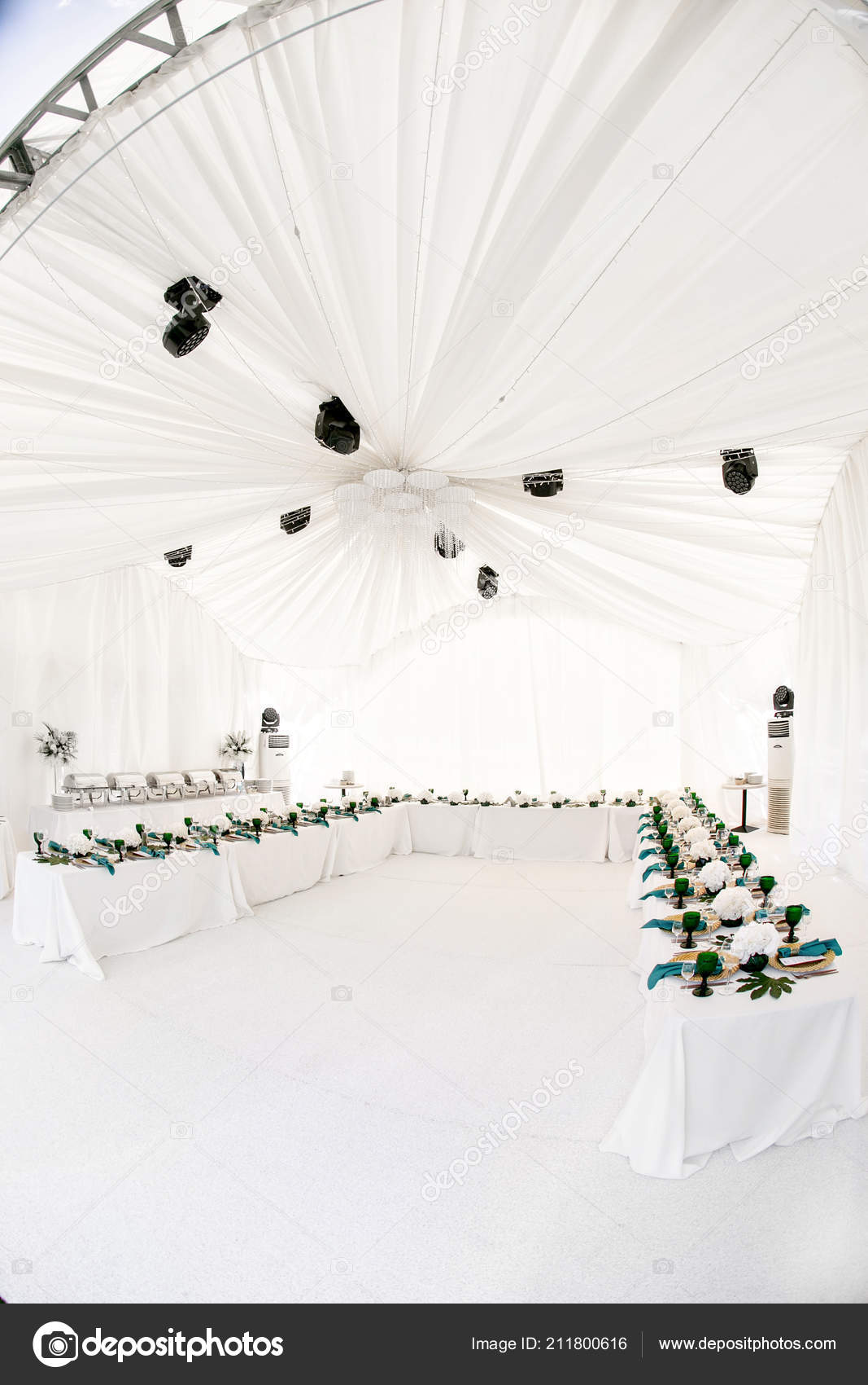 Interior of tent for wedding diner, ready for guests  Served
