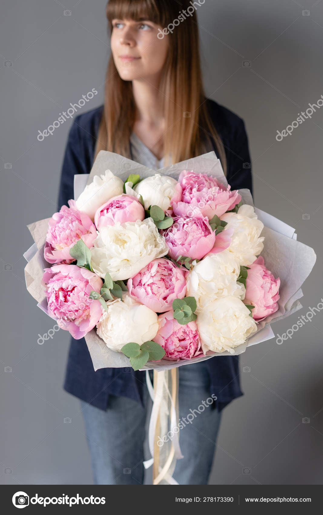 Pink And White Peonies In Womans Hands Beautiful Peony Flower For Catalog Or Online Store Floral Shop Concept Beautiful Fresh Cut Bouquet Flowers Delivery Stock Photo C Malkovkosta 278173390