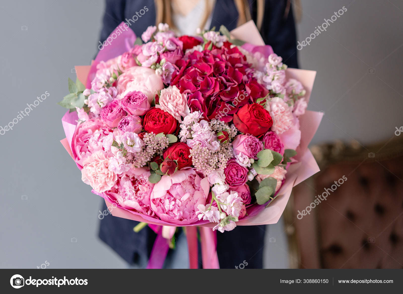 Pink Peonies And Red Hydrangea Beautiful Bouquet Of Mixed Flowers In Woman Hand Floral Shop Concept Handsome Fresh Bouquet Flowers Delivery Red And Pink Color Stock Photo C Malkovkosta 308860150