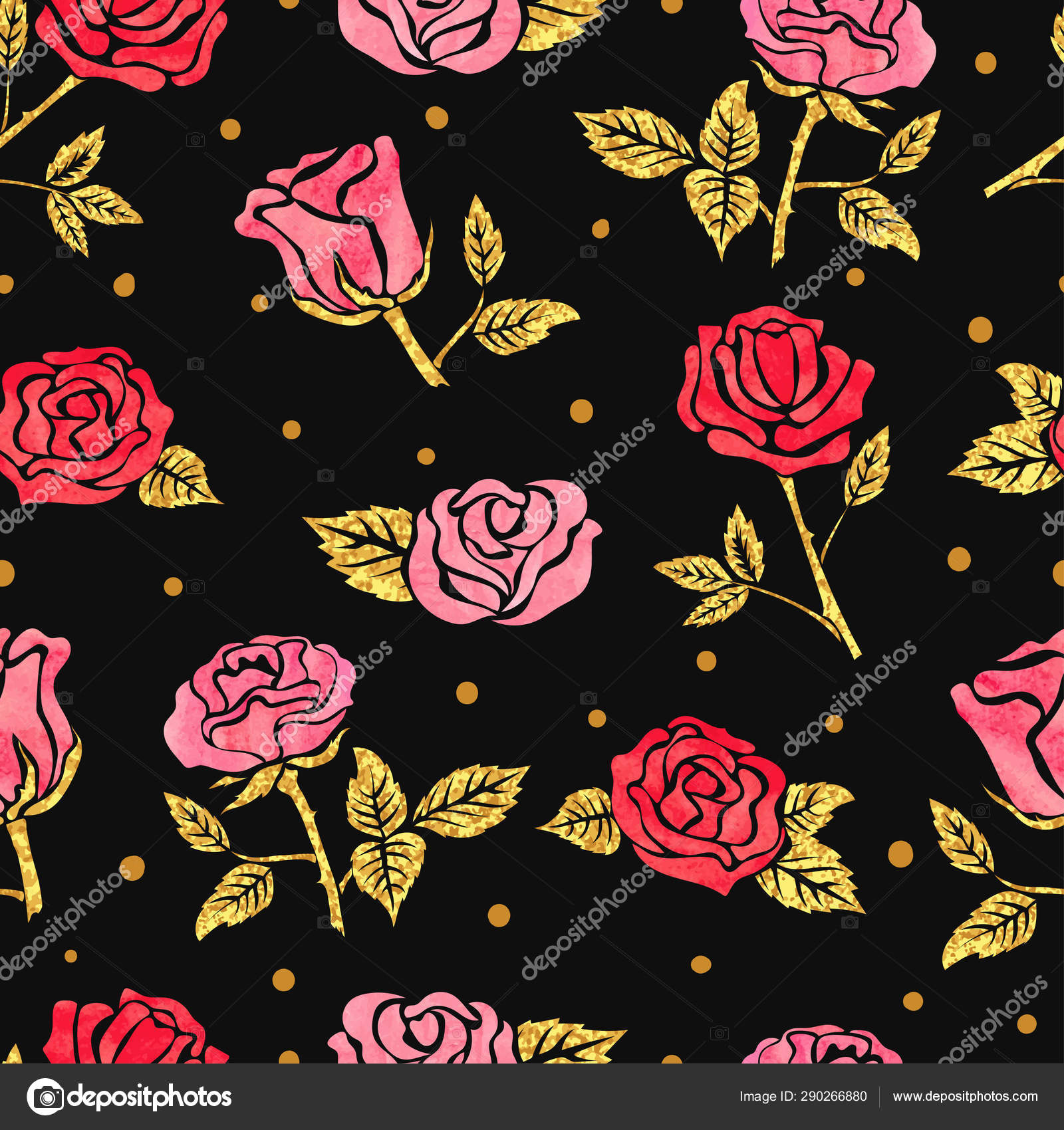 Seamless Roses Pattern Vector Dark Floral Background Stock