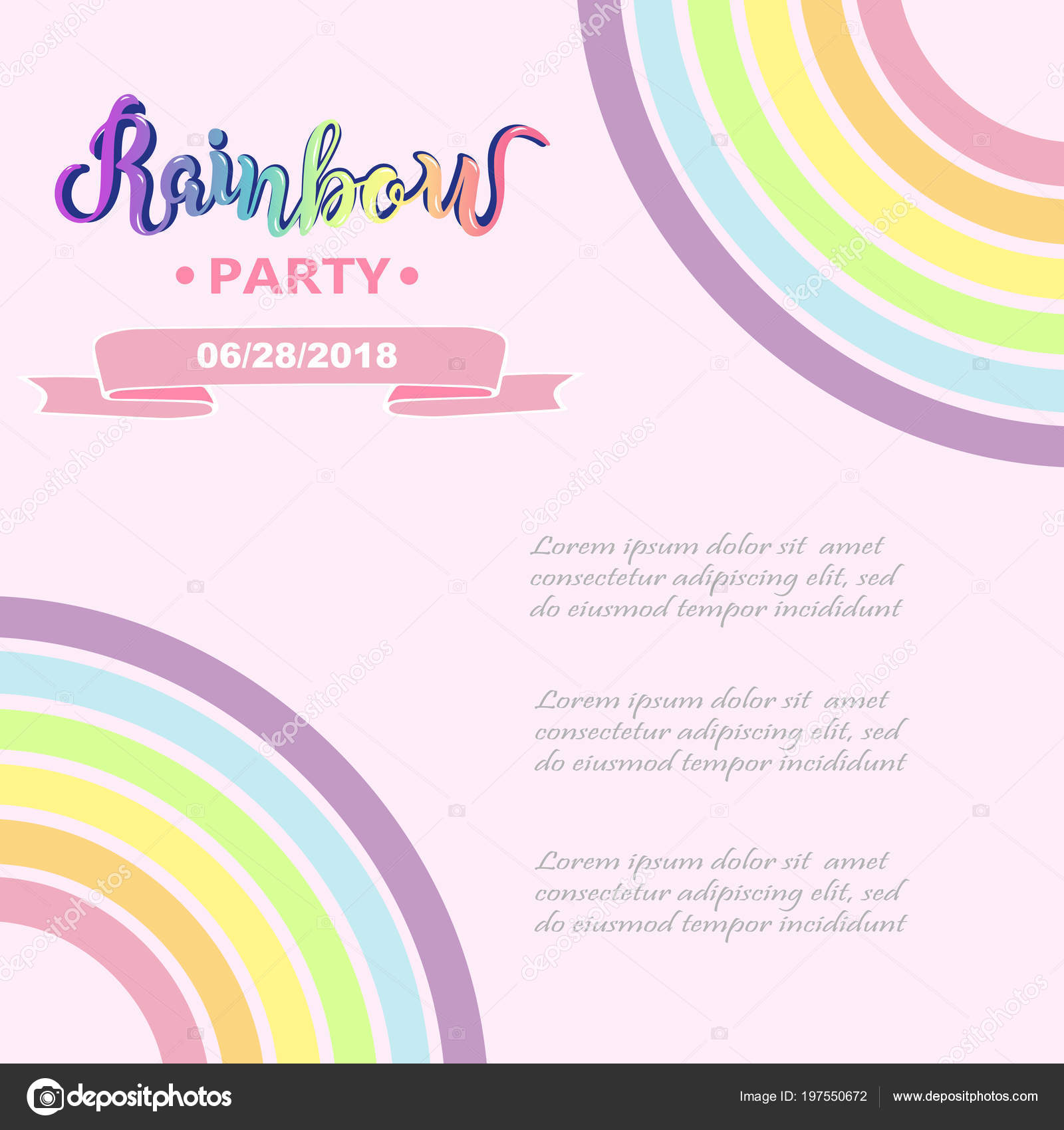 Template Rainbow Party Happy Birthday Card Party