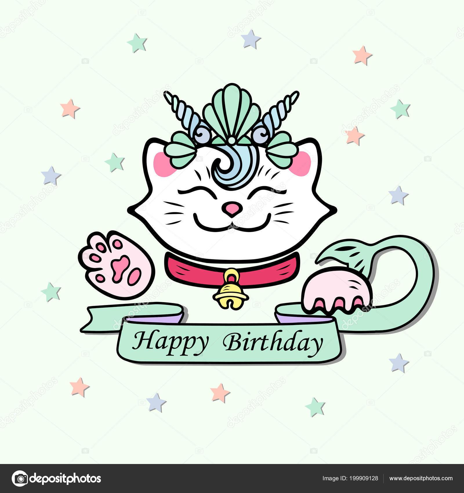 Cute Happy Birthday Card Cat Marimaid Sea Shell Crown Vector Stock
