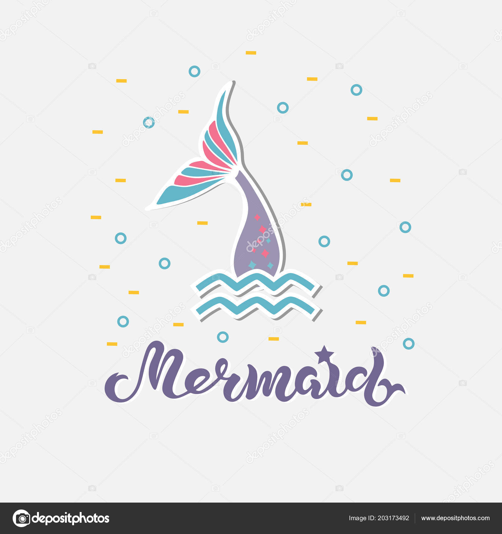 Vector illustration mermaid tail mermaid handwritten lettering logo vector illustration with mermaid tail mermaid handwritten lettering as logo patch sticker cake topperstemplate for mermaid style party invitation stopboris