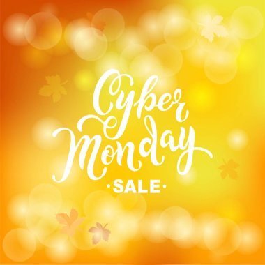 Cyber Monday sale. Hand drawn lettering Cyber Monday for banner, logo, badge, web, poster. Discount time. Vector illustration Cyber Momday isolated on yellow background.