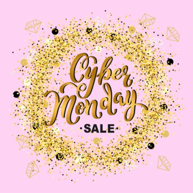 Cyber Monday sale. Hand drawn lettering Cyber Monday for banner, logo, badge, web, poster. Discount time. Vector illustration Cyber Momday isolated on pink background with golden confetti.