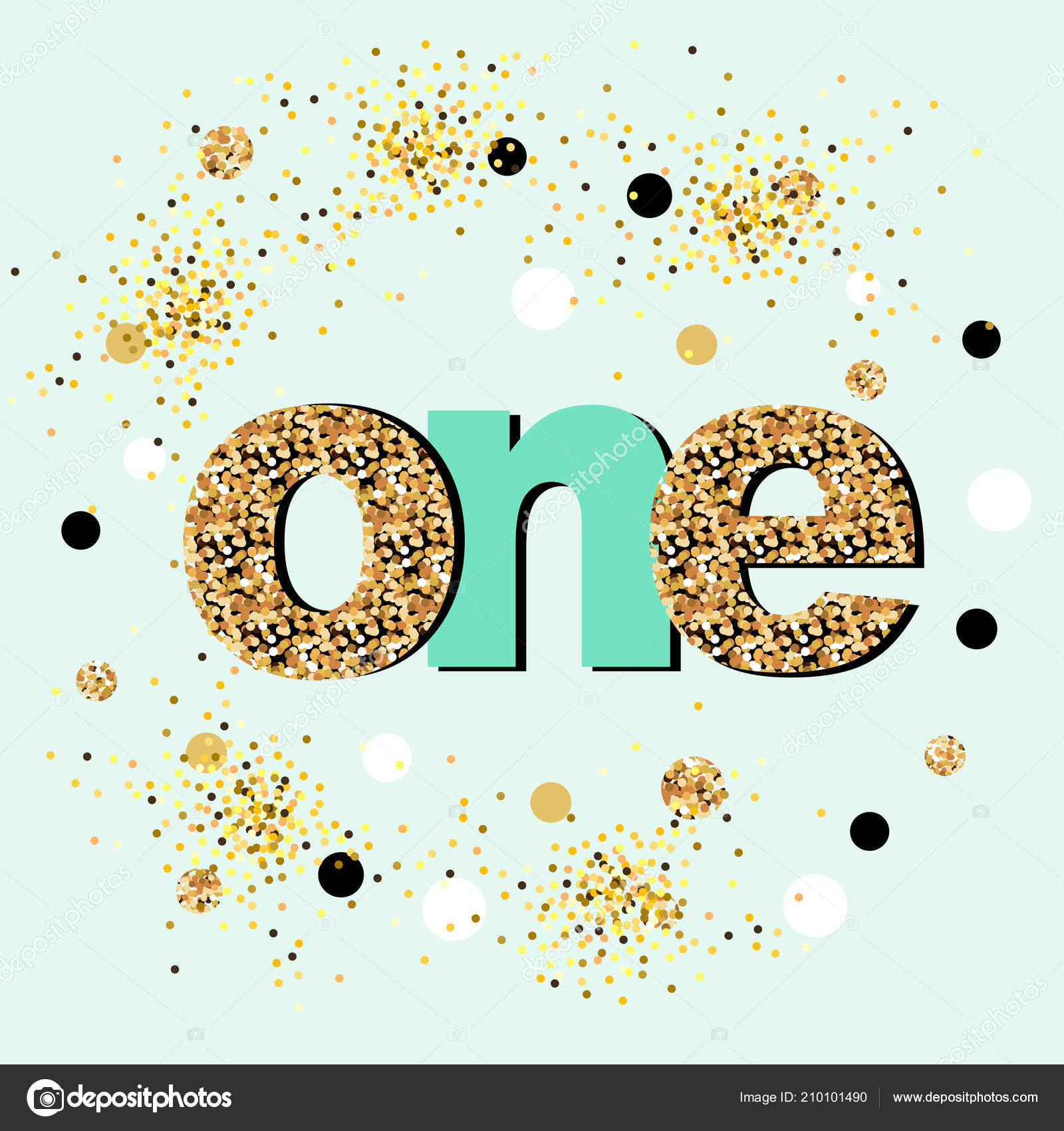 Vector Illustration One Golden Confetti Template Baby