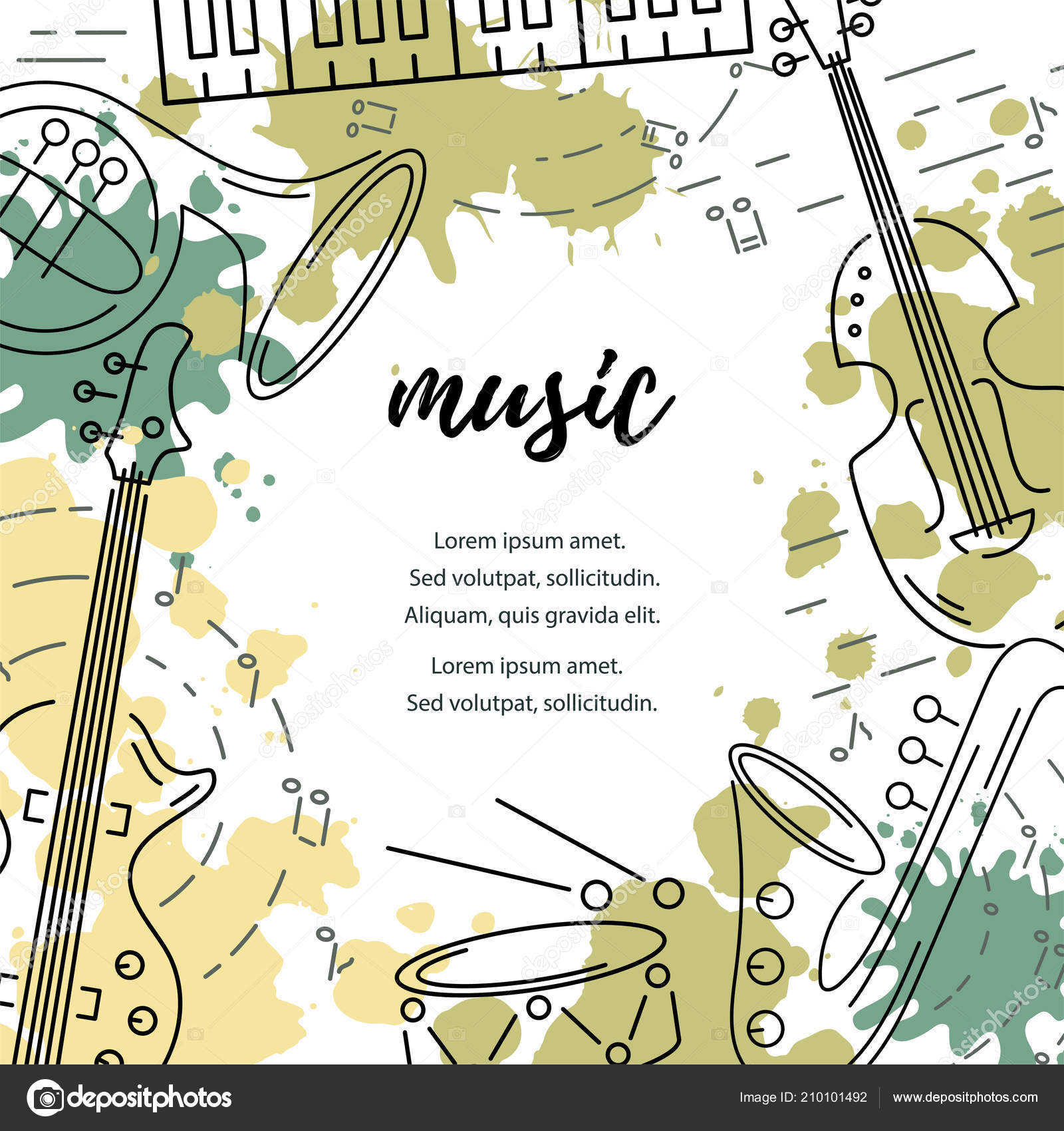 Template Music Festival Jazz Party Invitation Greeting Card Concert