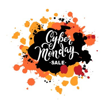 Cyber Monday sale. Hand drawn lettering for banner, logo, badge, web, poster. Discount time. Vector illustration isolated on background with splash.