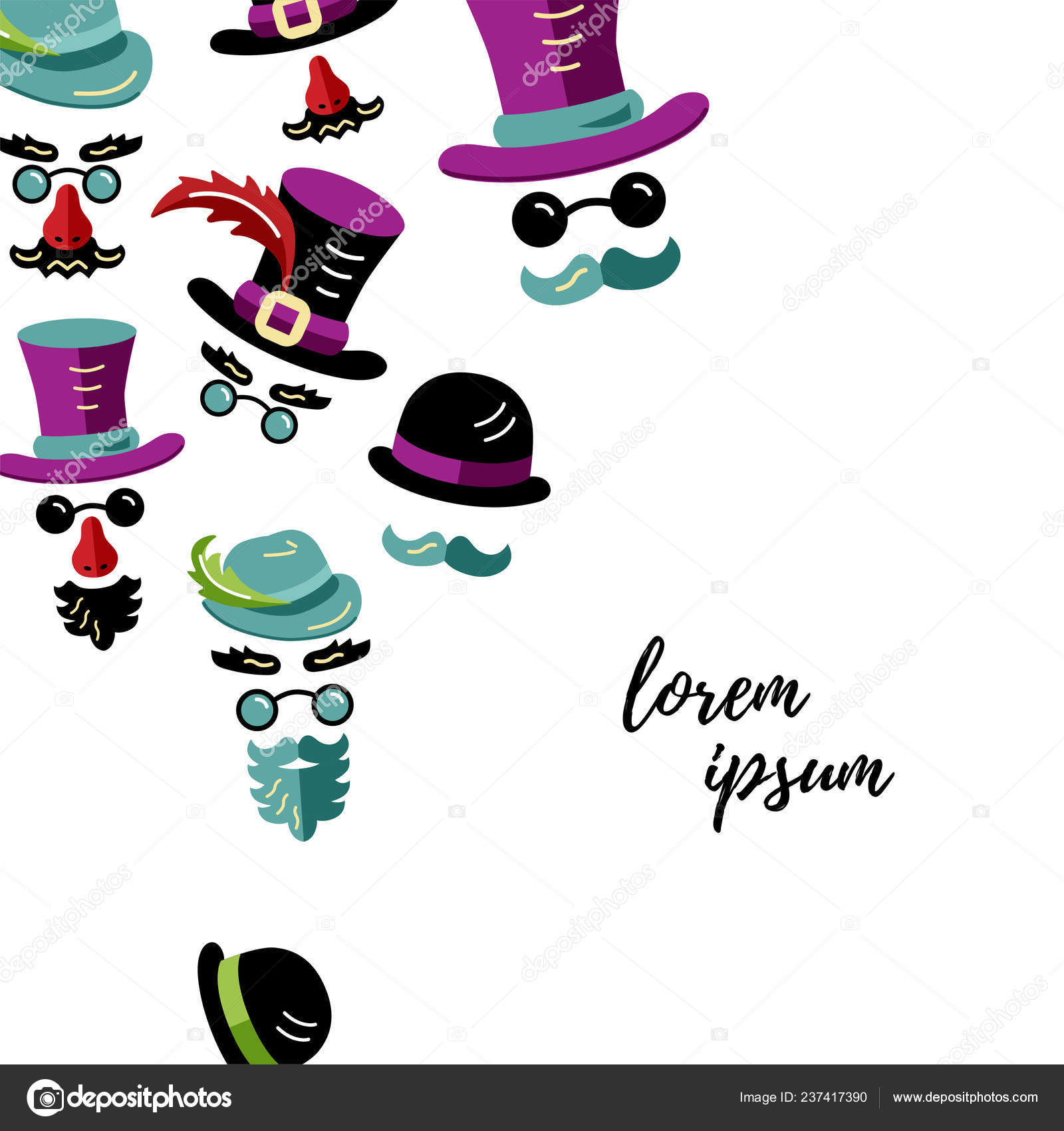 dc0955d488f Men Hats Mustaches Beards Flat Outline Style Vector Illustration ...