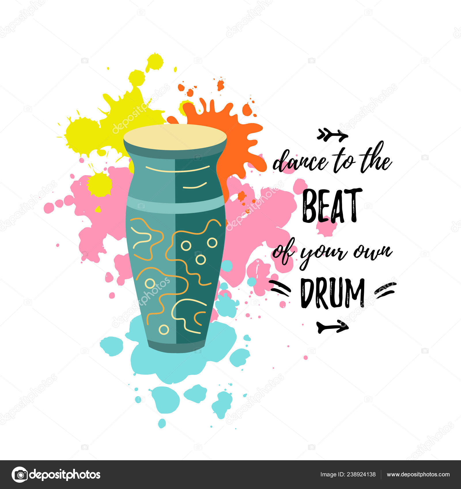 Bright Card Drum Dance Beat Your Own Drum Text Vector — Stock Vector