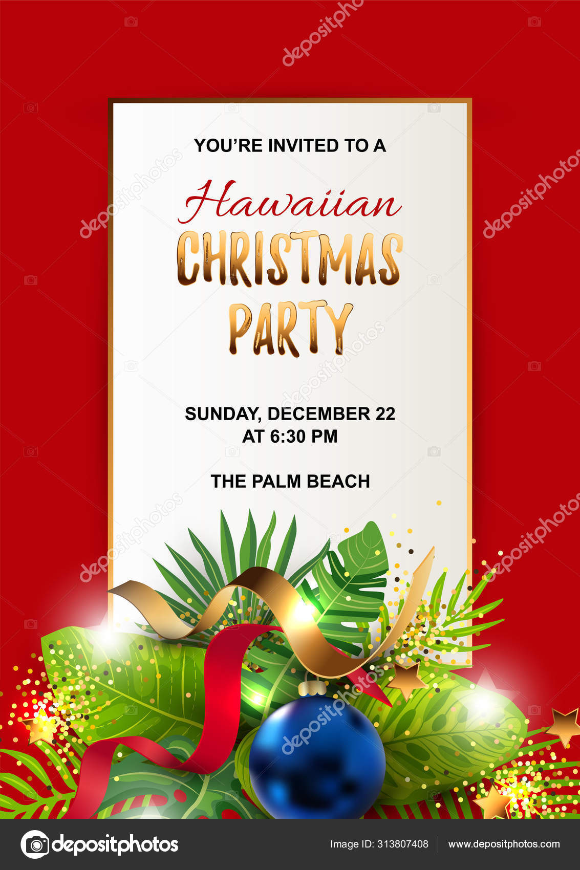 Hawaiian Christmas Party Invitation Exotic Tropical Leaves
